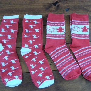 Canada Day Flag Geese Socks 4 Pairs Red White NWOT